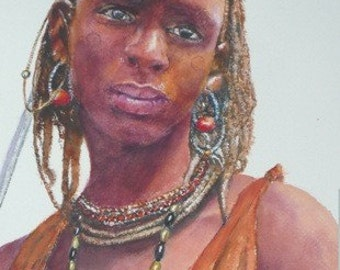 african portraits, giclees from Watercolor paintings on photo paper, limited Edition, hand signed