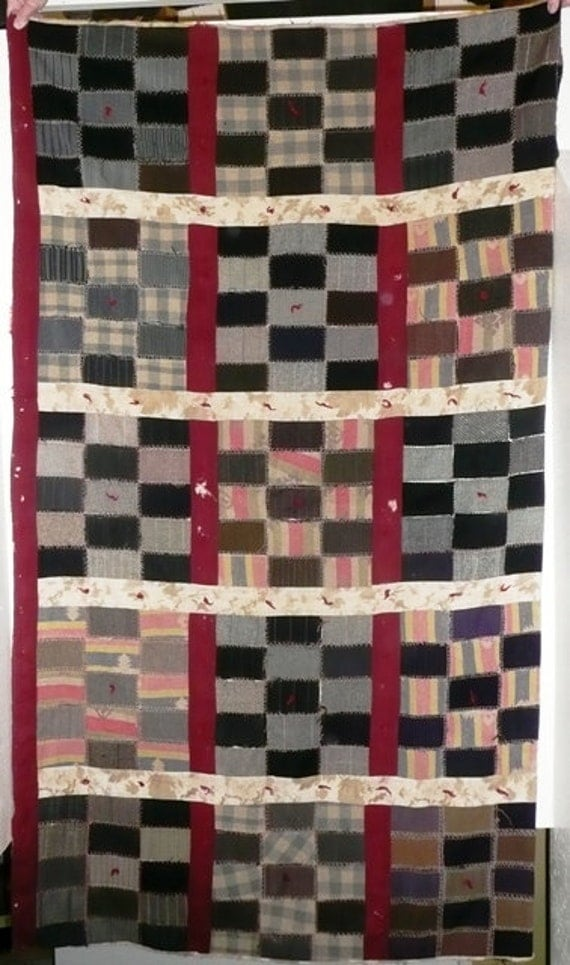 Antique Vintage Rustic Camp Patchwork Quilt Cutter Wool Flannel Circa Forties