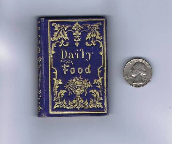 Antique Vintage 19thc Miniature Book Daily Food Victorian Gilt Decorated Binding
