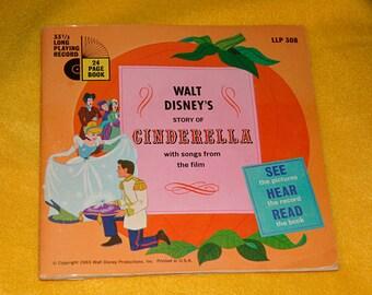 Vintage Walt Disney Story of Cinderella Book and 33 1/3 LP Record