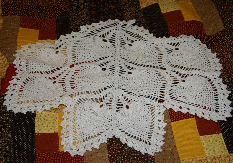 Vintage White Crocheted Antimacassar Doily Pineapple Pattern
