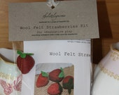 Wool Felt Strawberry Kit (makes 4 plus 1 ready made)