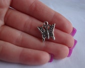 Tibetan silver butterfly charm, jewerly making, bead charms, crafts, pendant, 10x8mm, 25pc