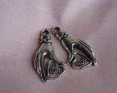 """Cute """"Love & You"""" hands Tibetan silver charms, jewerly making,  2pc, pendant"""