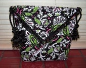 Origami Bag - Black & White and Hot Pink and Lime Green all over