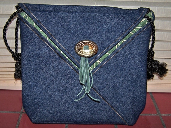 "Denim and green ""Montana Bandana"" origami purse"