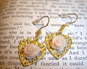 Heart and Rose Earrings
