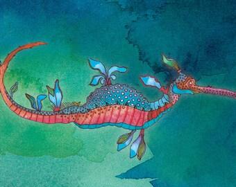 PRINT - Leafy Seadragon (Blue)