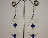 Earrings Cobalt Blue Crystals in Teardrops