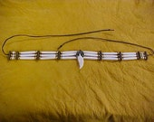 Bone Hair Pipe Choker w/Fluted Brass Beads Native American