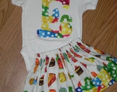 Hungry Caterpillar Twirl Skirt and Applique Onesie/Shirt or Pillowcase Dress. Available in Sizes 0M- 5T