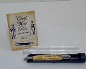 Chrome Civil War Pen with Box Elder Burl