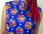 70s Yves Jennet Blue with Floral Dots Size Small