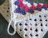 Purple Pink and White Granny Square  Pot Holder - Handmade crochet - ready to ship