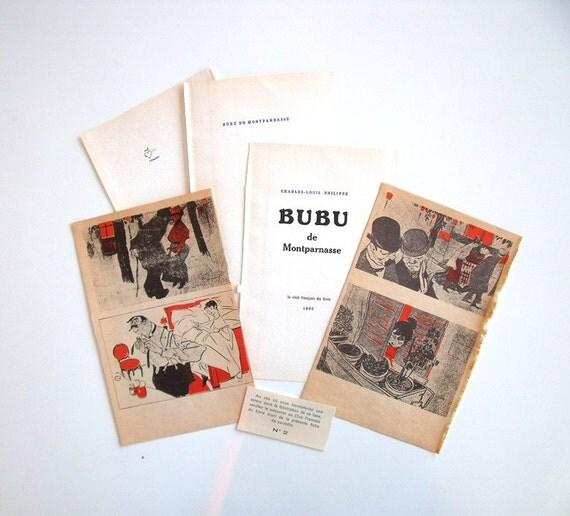 Vintage Images & Pages from French Novel 'Bubu de Montparnasse' - Paper Ephemera For Collage Altered Art Scrapbooking