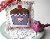 Chocolate Cupcake- Scented and hand painted Sachet / ornament