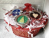 SALE - Christmas Gift Basket With 3 jars of Scented wax melt crumbles and a Christmas hearth Sachet