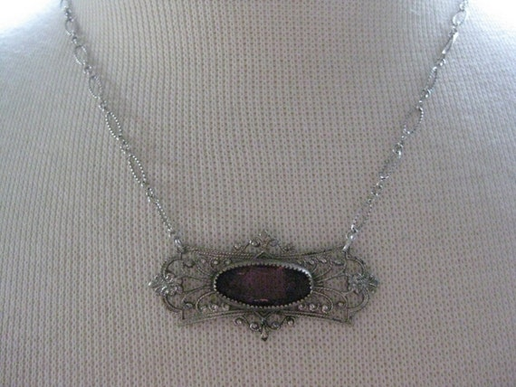 Vintage Jewelry Victorian Silver FIligree Brooch with Amethyst Stone