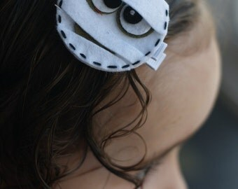 Cute Halloween Mummy Hair Clip--Meet Miss Mum (Treasury Item)