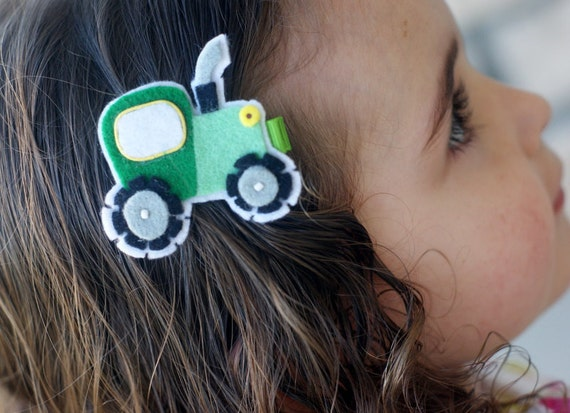 Tractor Hair Clip - Meet Miss JD - John Deere Inspired