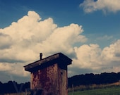 Old Country Outhouse 8x10 Fine Art Photograph Print blue sky white clouds