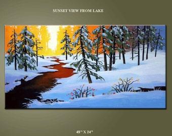 Landscape Painting, 48'' HUGE Original Contemporary Impressionism Fine Art Painting  on Canvas 48x24