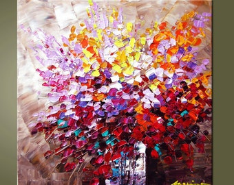 Original Contemporary Palette Knife Fine Art Painting Abstract Textured On Stretched  Canvas Ready To Hang 24''X24''