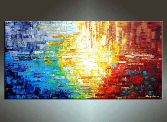48''  HUGE Original Contemporary Palette Knife Fine Art Painting Abstract Textured Ready to Hang 48''x24''