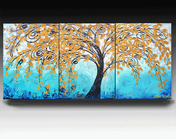 Landscape Painting,  54'' HUGE Original Contemporary Palette KnifePainting Abstract Textured On Gallery Wrapped Canvas 54''X24''x1.5''Deep