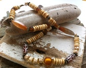 Carnelian & Wood Beaded Necklace
