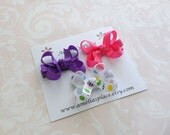Set of Three Small Boutique Style Bows- Pink, Purple, and Easter Egg Print