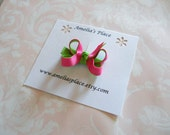Layered Itty Bitty Boutique Style Hair Bow- Bright Pink and Green