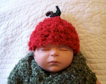 Red Apple Baby Hat and Matching Booties
