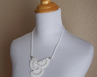 Queen Annes Lace Wedding Necklace Pure White