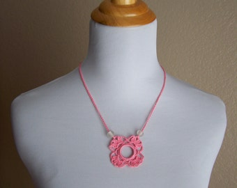 Pink Lace Flower Necklace with Reclaimed Beads