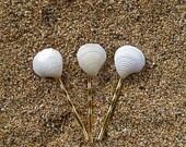 Wedding Hair Accessories, Bridal, White Shell Bobby Pins, Hawaii Beach Hair Pins