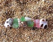 Shell Hair Barrette Colorful Sea Glass Small Beach Inspired OOAK Genuine French Hair Clip