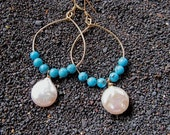 Turquoise Pearl Earrings Gold Hoops Gemstone Jewelry