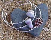 3 Hawaiian Shell Bangles, Sterling Silver, Hammered Bracelets, Hawaii Shell Jewelry, Thick 12 Gauge, Mermaid Fashion, Surfer Girl Gift Idea