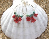 Red Coral, Turquoise, Gold Hoop Earrings, Hawaii Beach Jewelry Summer Fashions