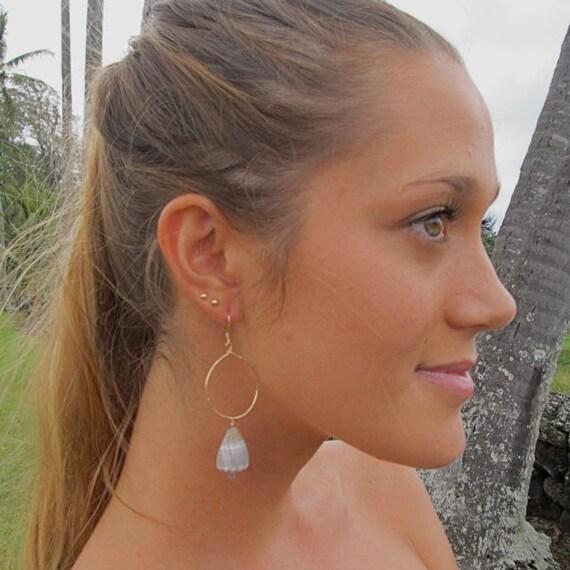 Gold Hoop Earrings Hawaiian Grey Cone Shells Hammered Hawaii Beach Jewelry OOAK