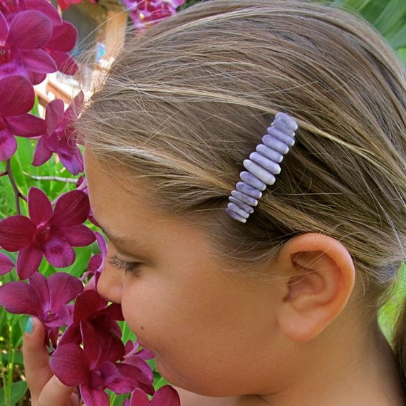 Purple Sea Urchin Hair Barrette, Hawaii Beach Inspired OOAK Genuine French Hair Clip