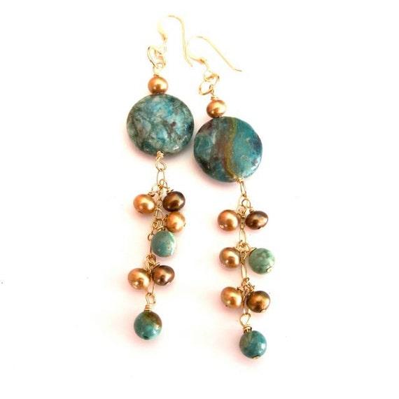 Gold Gemstone Earrings, Turquoise, Pearl, Dangle, Hawaiian Jewelry, Blue, Green, Brown
