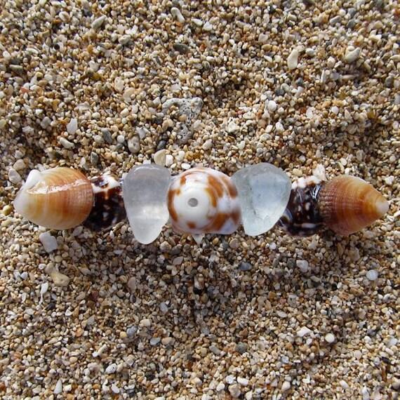 Shell Hair Barrette, Hawaiian Sea Glass Hawaii Beach Hair Accessories, Genuine French, Summer Fashion