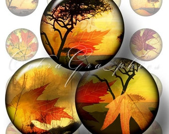 Autumn Leaves - 1 inch circles - Digital Collage Sheet CG-128 for Scrapbooking, Resin Jewelry, Bottle Caps