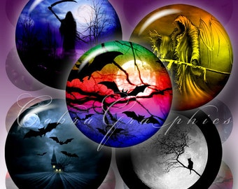 HALLOWEEN Illustrations - Digital Collage Sheet CG-283 - 1.5 inch, 30mm, 25mm, 1 inch circles, Printable Download for Pendants, Bottle Caps