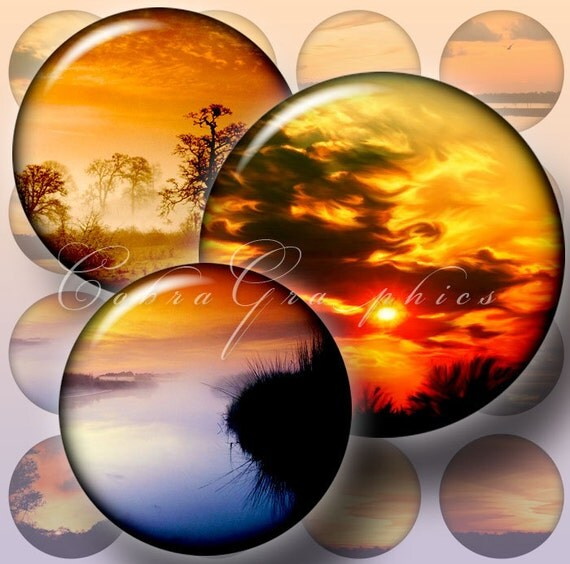 "Sunsets - Digital Collage Sheets CG-321 - 1.5"", 1.25"", 30mm, 25mm, 1 inch circles for pendants, cabochons, bottle caps, crafts"