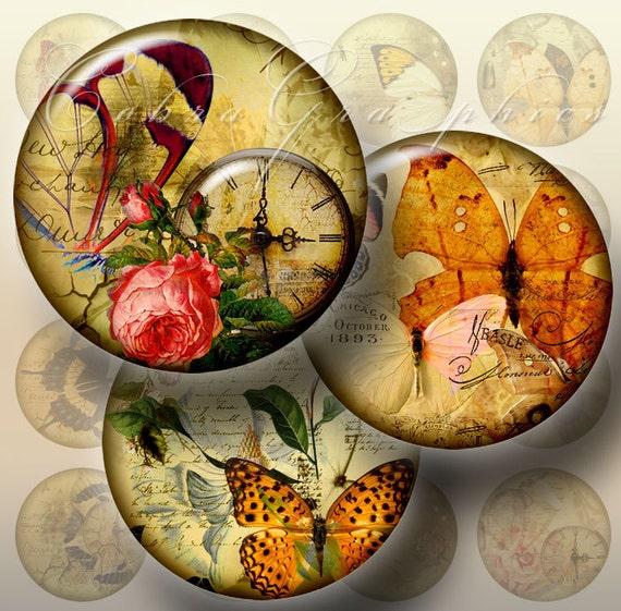 "Vintage Butterflies - Digital Collage Sheets CG-333 - 1.5"", 1.25"", 30mm, 25mm, 1 inch circles Printables for Pendants, Bottle Caps"