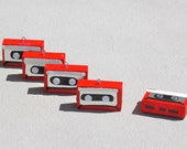 SALE Retro Cassette Ornaments mixtape ornament set of 5 red black recycled upcycled reclaimed repurposed wood holiday gift set