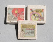 The Flash Coasters Coaster set of 5 recycled handmade European Marble Stone upcycled reclaimed comic book justice league vintage comics